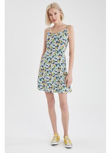 DeFacto Çiçekli V Yaka Ayarlanabilir Askılı Elbise Mavi